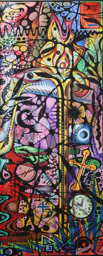 Abstraktion Blume 1990 50 x 120 cm von Harry Stabno