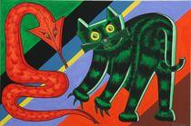 Rote Schlange und grüne Katze 2005 90 x 60 cm von Harry Stabno