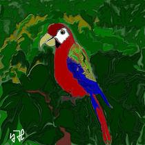 Papagei im Dschungelgrün von Yvonne Habenicht