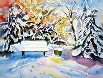 einsame Bank im Winter von Karin Müller