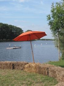 Sonnenschirm an der Eider bei Süderstapel