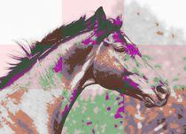Pferdeportrait Popart pastell by Gabriela Wejat-Zaretzke