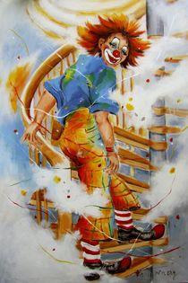 Clown auf Treppe von Barbara Tolnay