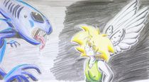Biff vs Alien by zish