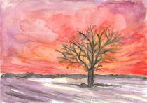 Baum vor rotem Himmel von Caroline Lembke