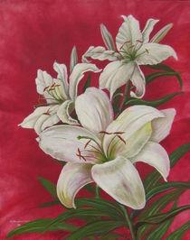 Lilien auf rotem Grund von Helga Mosbacher