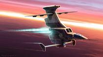 Big rudder space fighter by stefano tartarotti