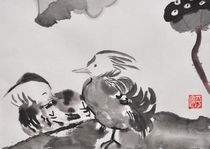 Entenpaar am Lotos