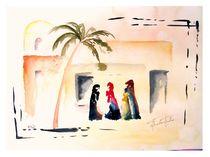Berberfrauen, Aquarell,   by Theodor Fischer