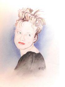 Portrait einer Kollegin in der Mittagspause by Theodor Fischer