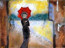Frau mit rotem Schirm by Ursula Besuden-Loesken