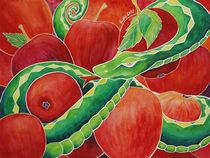 Grüne Schlange mit roten Äpfeln von Cathleen Ahrens