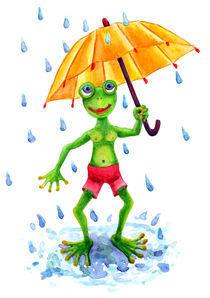 Frosch mit Regenschirm von Cathleen Ahrens