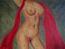 Akt mit rotem Tuch von Sun Dream