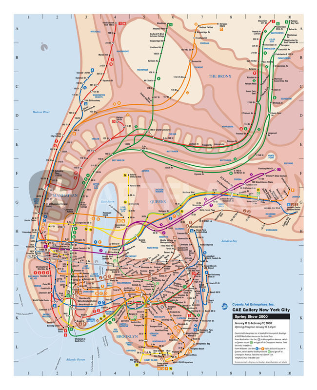Nyc Subway Map From 2000.New York Subway Map 2000 Graphic Illustration Art Prints And