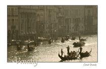 Venedig Canal Grande Abendstimmung mit Schriftzug von Doris Krüger