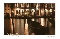 Venedig Canal Grande Gondel mit Schriftzug von Doris Krüger