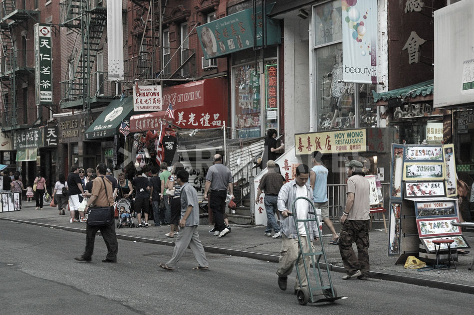 stra enszene in chinatown new york city fotografie als poster und kunstdruck von doris kr ger. Black Bedroom Furniture Sets. Home Design Ideas
