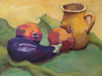 Aubergine mit gelben Krug von alfons niex