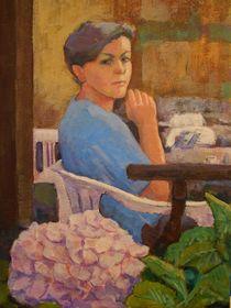 Frau mit Hortensie oder einen Espresso bitte by alfons niex