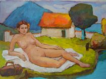 Liegende nackte Frau by alfons niex