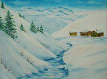 Gebirgsbach im Winter von Bärbel Drechsler