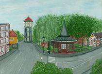 Chinesentempel in Emden mit Emder Wasserturm von staebe