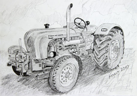 Quot Oldtimer Trecker Old Tractor Quot Drawing Art Prints And
