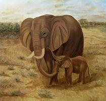 Elefanten-Ölgemälde 1m x1m von theresa-digitalkunst