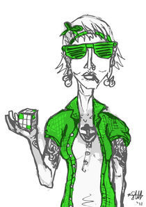 hipster with extra green by Sarah Haskins