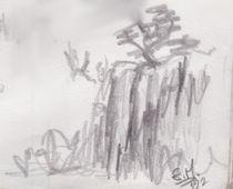 Fels mit Busch von Edmond Marinkovic