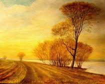 Sonneruntergang an der Elbe by Holger Hausmann