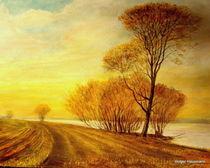 Sonnenuntergang an der Elbe by Holger Hausmann