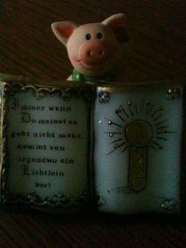 Glücksschwein mit Botschaft von Heike Schuster