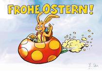 Hase im Flugei wünscht Frohe Ostern! von Bernd Stein