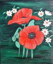 Mohnblumen und Mageriten von Roswitha Rudzinski