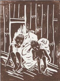 Jungen mit Lumpensack - Linoldruck von Heike Nedo