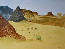 In der Wüste  Gouache auf Leinwand, 30x40