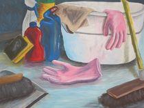 Putzeimer mit WC-Ente von Sonja Karmann