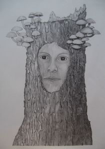 Gesicht im  Baumstumpf von Angelika Wegner