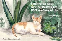 Spruchkarte - Gott schuf die Katze von carolinelembke