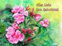 Geburtstagskarte - Rosa Oleander by carolinelembke
