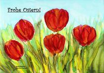Osterkarte - Rote Tulpen