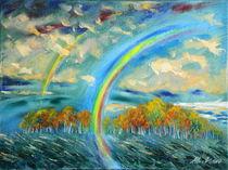 Landschaft mit Regenbogen von Andreas Abel