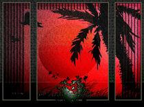 Rote Sonne am Fenster. von Bernd Vagt