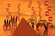 Bootssteg mit Luftblaen von Inge Knol