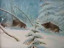 Schwarzwild im Winter von Jürg Meyerholz