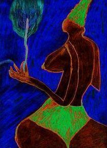Frau mit Blume von artmagic