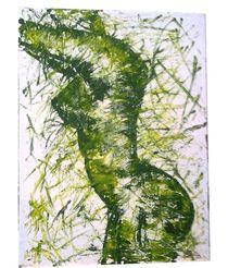 Frauenakt in grün von Sylvia Hackhausen