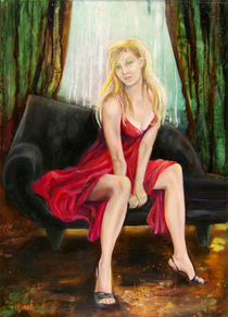 Frau in rotem Kleid von Helga Koch